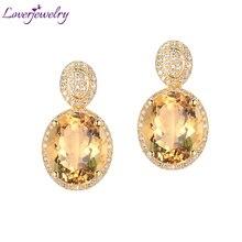 Loverjewelry серьги для Для женщин Мода цитрин, серьги-гвоздики с бриллиантом Твердые 14Kt желтого золота овальной 10x12 мм камень цитрин