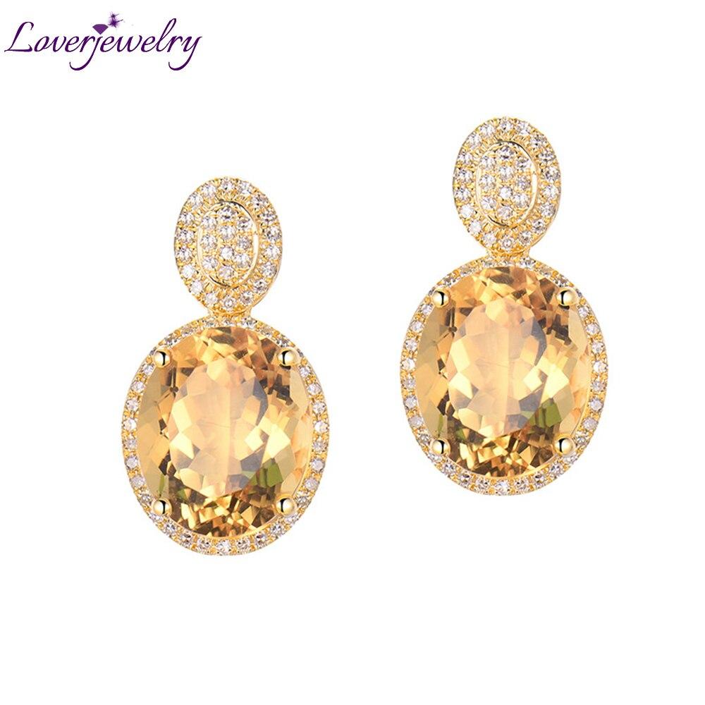 Takı ve Aksesuarları'ten Küpeler'de Loverjewelry Küpe Kadınlar Için Trendy Citrine Sonrası Küpe Doğal Elmas Katı 14Kt Sarı Altın Oval 10x12mm Citrine taş'da  Grup 1