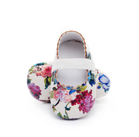 Newborn Infant Baby Girls Floral Pattern Crib Shoes Soft Sole Anti Slip Sneakers PU Soft Shoes
