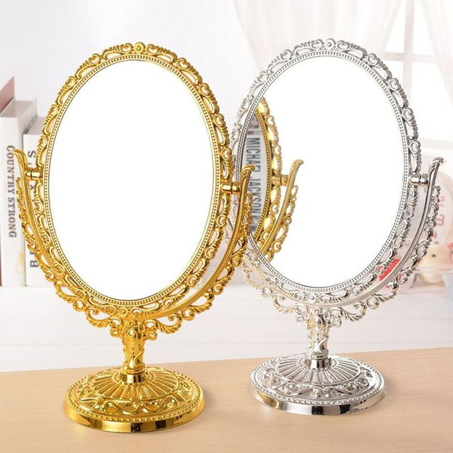 Double Side Makeup Mirror Comestic Oval Rotating Stand Table Mirrors