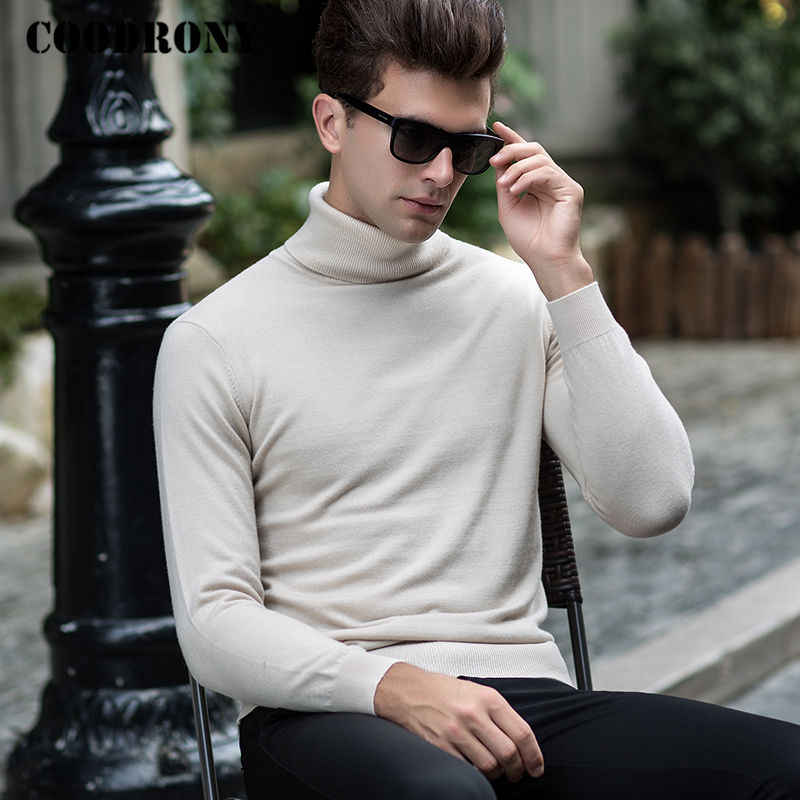COODRONY Mens Sweaters 2018 New Winter Thick Warm Cashmere Turtleneck Sweater Men Merino Wool Pullover Men Solid Color Pull 8302