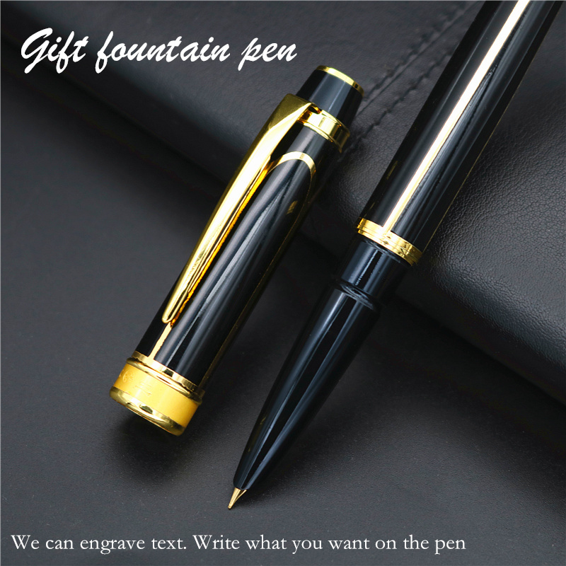 Black Gold line Fountain Pen Luxury Gift Ink Pen Standard 0.5 pen tip Free engraved text on the pen