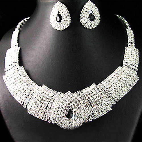 Nigerian African Beads Bridal Black Diamante Crystal Elegant Necklace Earrings Jewelry Set for Wedding Party bisuteria mujer
