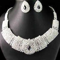 Cuentas de novia Africana nigeriana Diamante Negro cristal elegante collar pendientes conjunto de joyas para la boda fiesta bisuteria mujer