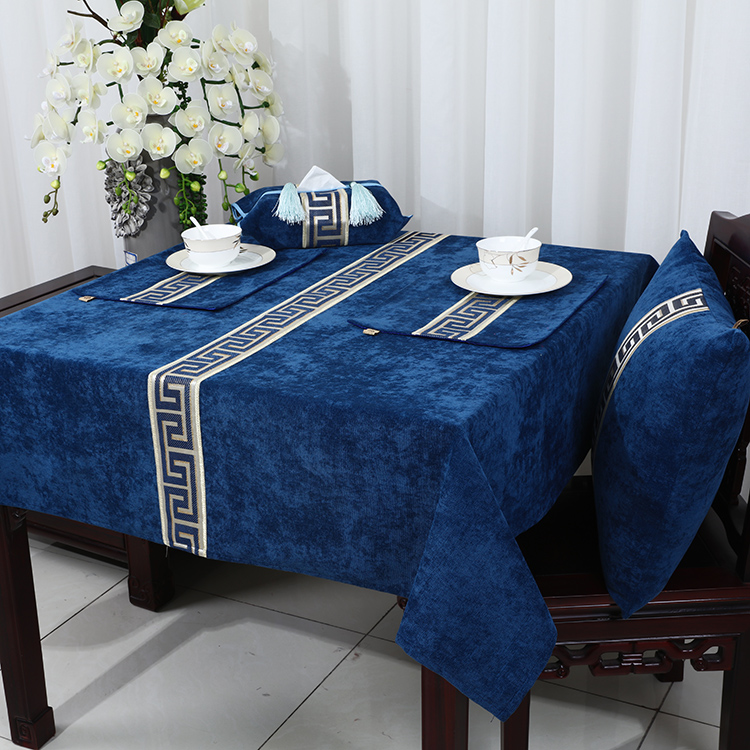 New High End Patchwork Lace Table Cloth Velvet Fabric Waterproof Oilproof  Table Cover Luxury Europe Style