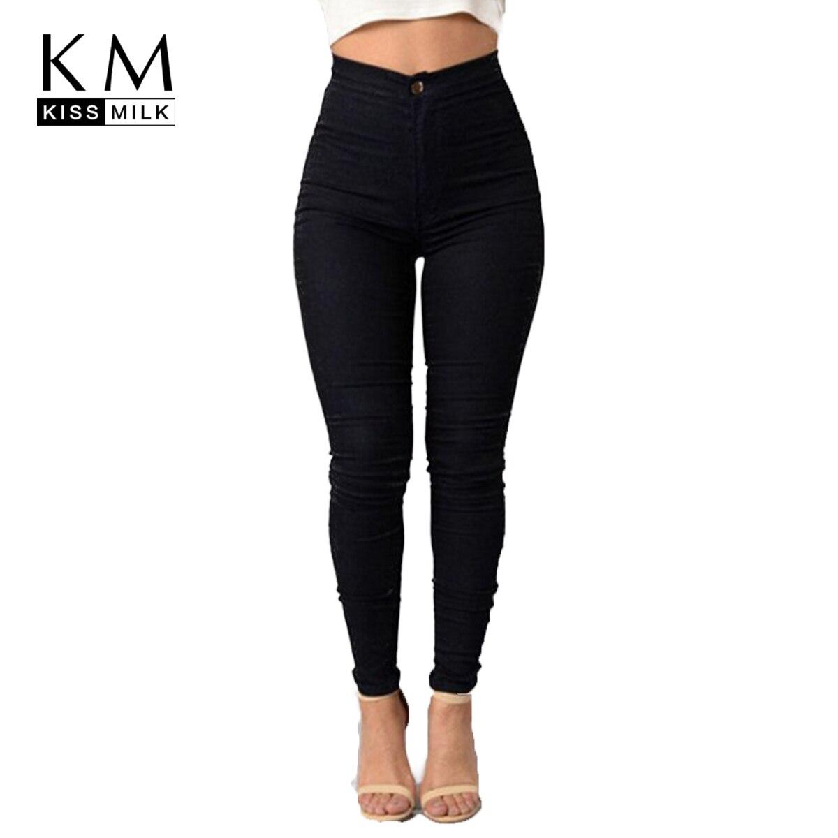 kissmilk 2018 Solid Multi-color Women Jeans Full Length High Waist Female Clothing Skinn ...