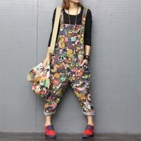 Fashion Spring Print Ladies Jumpsuit Casual Denim Romper Bib pants Overalls Trousers Harem pants Basic Loose Women Jeans Rompers