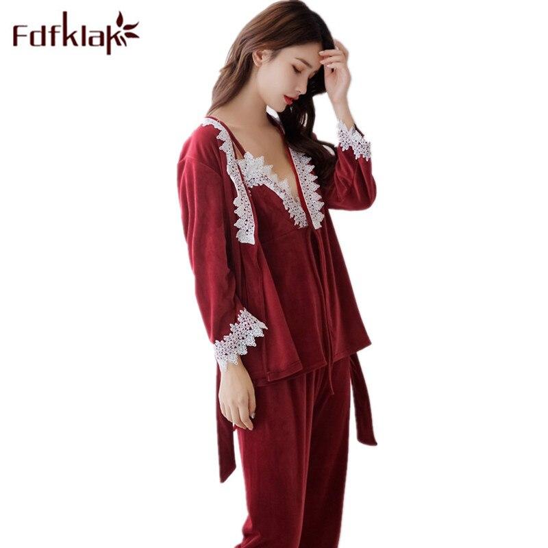 Home Suit Pajamas For Women Pyjama Femme Pijama Sexy Velvet Pajamas Women Sleeping Nightwear Set Sleepwear Spring New Fdfklak