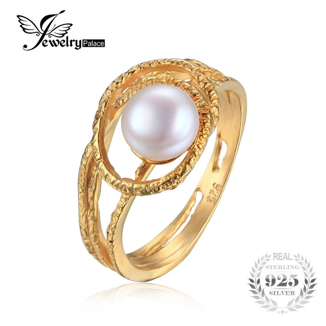 JewelryPalace Retro Pearl Ring 925 Sterling Silver Ring Jewelry For Women Charms Gold-color Flexible Antique Ring