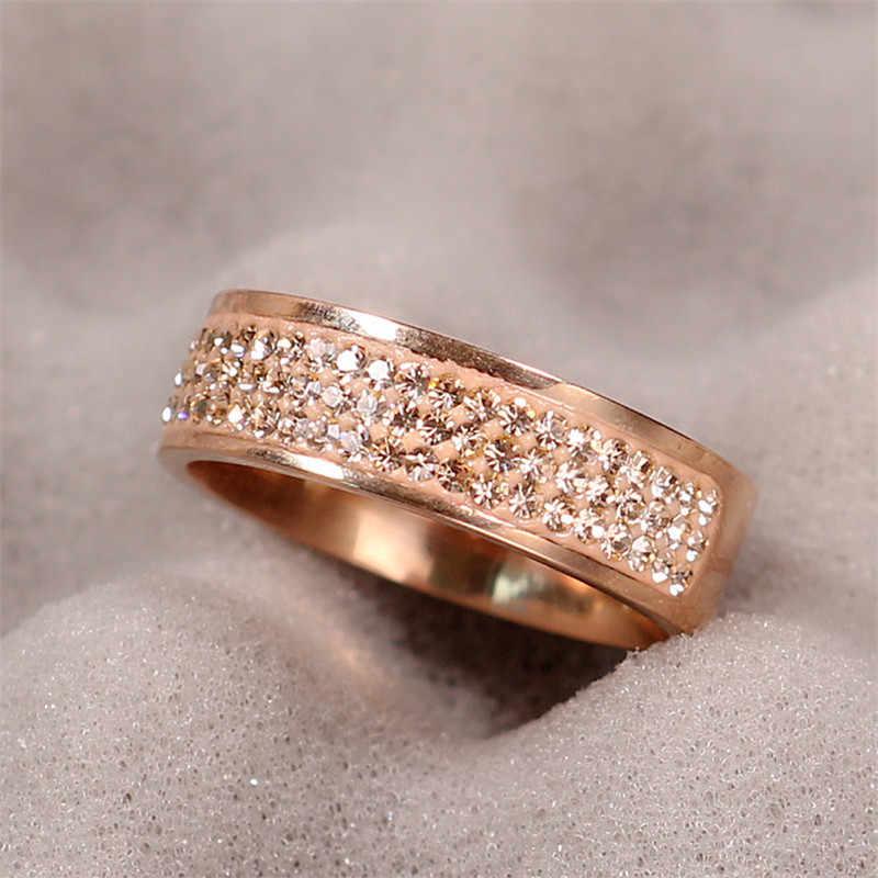 ローズゴールド有名なブランドジルコンリング新 8 ミリメートル半円三行クリスタル 316L ステンレス鋼指輪女性男性
