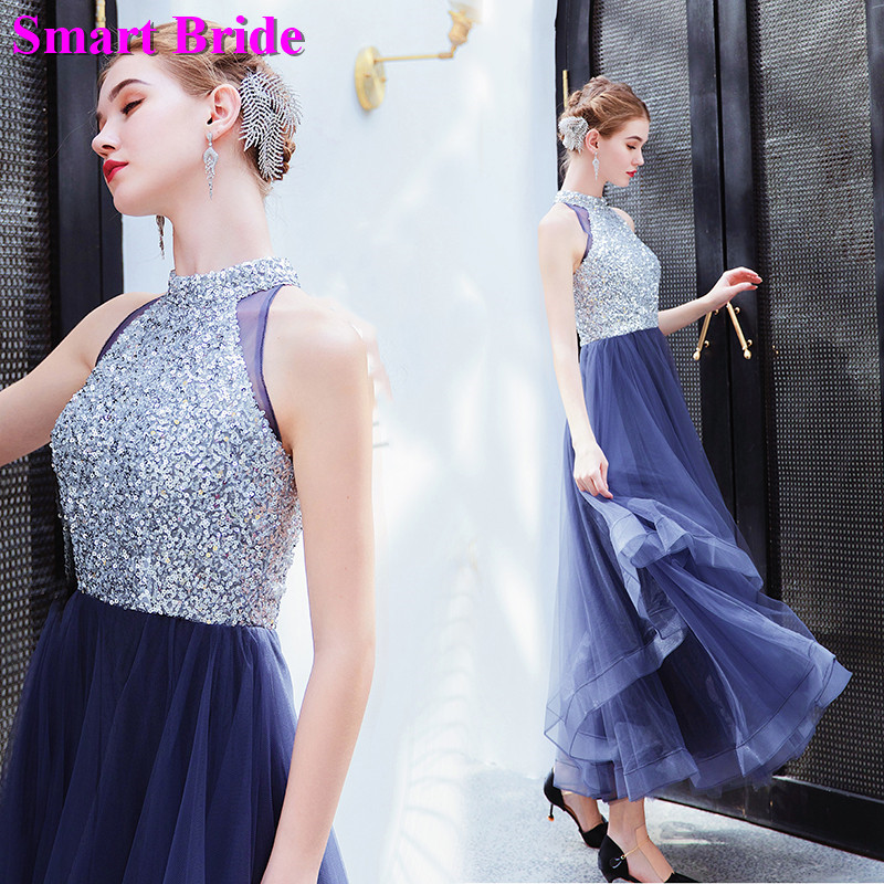 Smart Bride Sequins   Bridesmaid     Dress   A line Long Floor Length Party Zipper Closure Guest   Dresses   Simple Gowns BE05