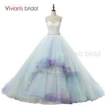 Вивиан свадебный сексуальная новое поступление красочный синий и белый свадебные платья бальное платье свадебное платье милая высокое качество JR02