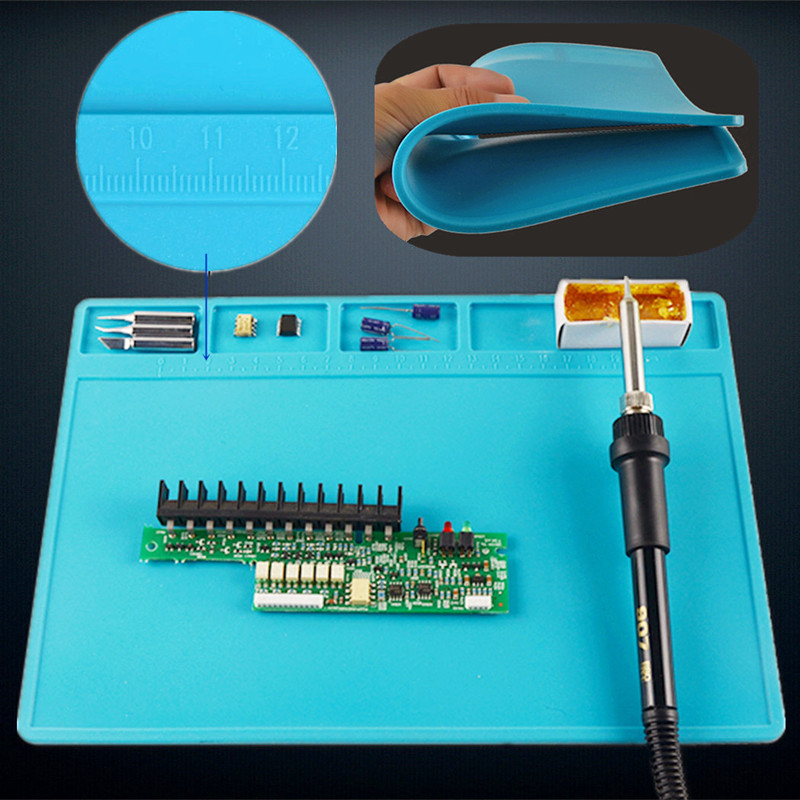 11in*7.9in Heat Insulation Soldering Repair Station Silicone Pad Desk Mat Maintenance Platform BGA  with 20 cm Scale Ruler unique disk style silicone heat insulation cup pads blue black 2 pcs