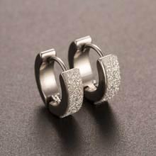 Chic 1Pair Cool Punk Men's Stainless Steel Hoop Piercing Round crystal Earring Ear Stud men woman jewelry