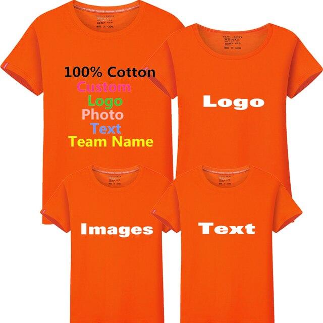 34f45fffa Solid Custom Photo Logo Text Printed Family Men T shirt Company Party Team  Class Uniforms Dad Mom Kid Child Boy Girl T-shirt Top