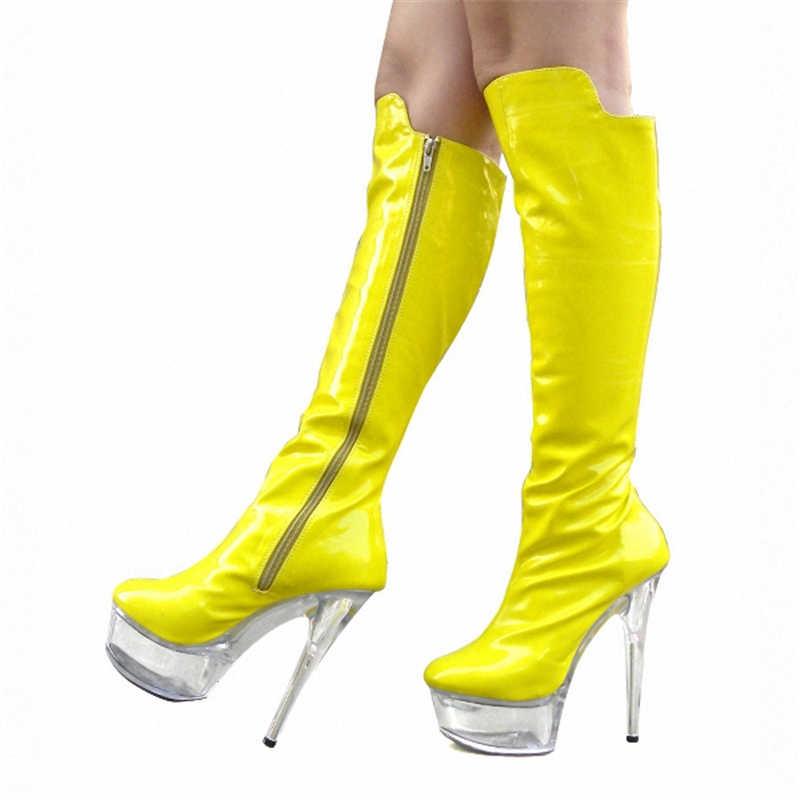 LAIJIANJINXIA ジップセクシーな女性 15 センチメートルハイヒール夜 Clubls 膝ブーツ 5 センチメートルクリアプラットフォーム靴ダンスシューズポールダンスシューズ