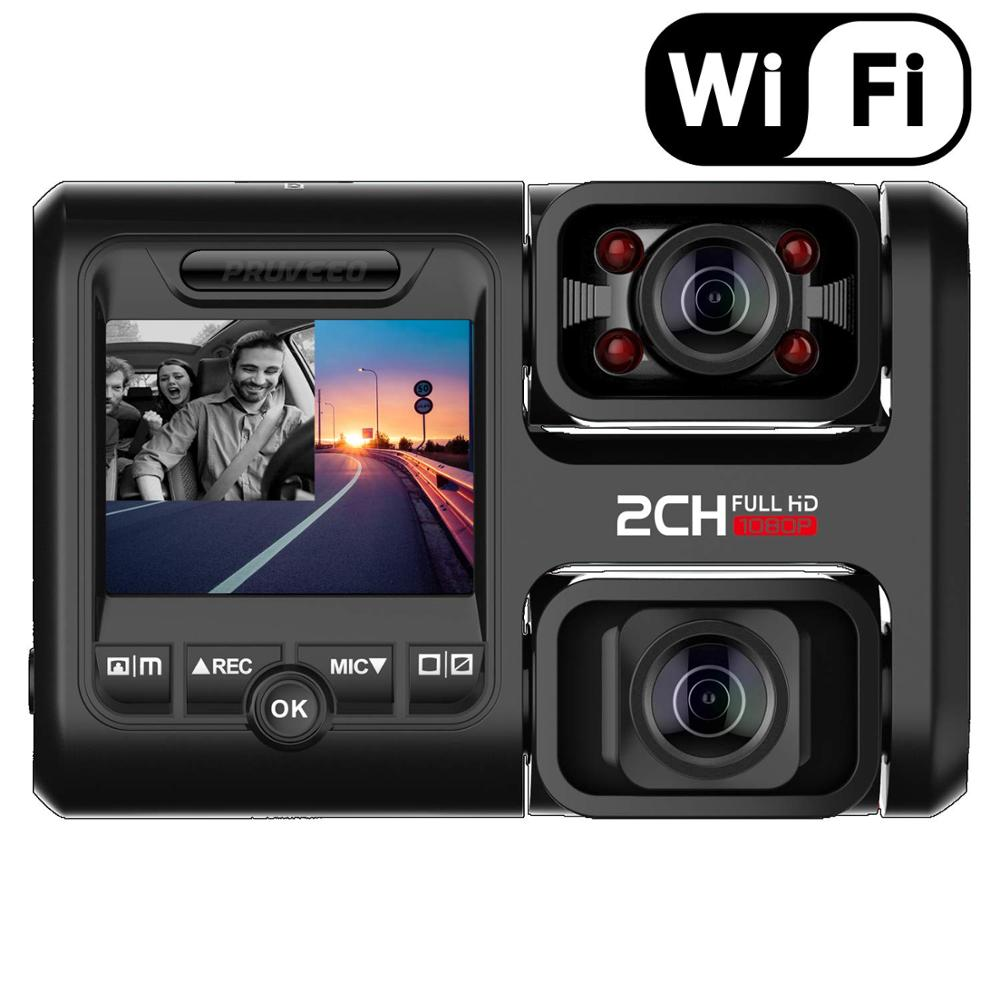 Pruveeo D30H 4K WiFi Dash Cam avec Vision nocturne infrarouge, double 1080P avant et intérieur, dvr de voiture pour les taxes de camion de voitures