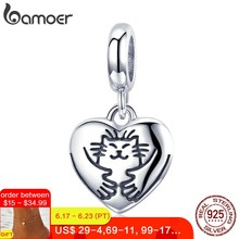 BAMOER Genuine 925 Sterling Silver Hug Cat in Heart Shape Pendant Charm fit Charm Bracelet & Bangles DIY Jewelry Making SCC955(China)