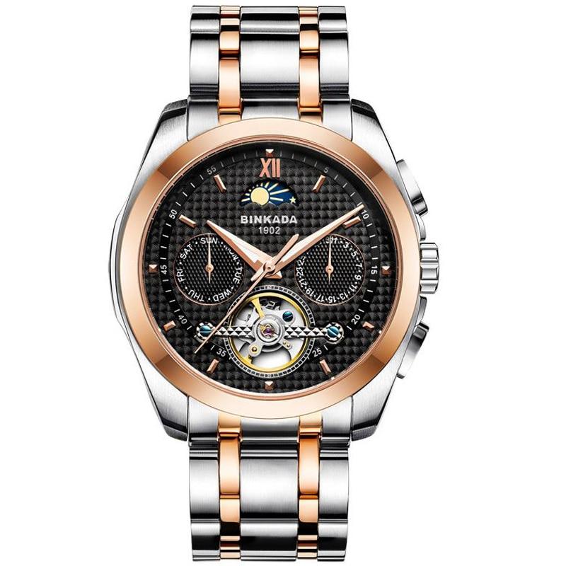 Hombres huecos automáticos relojes de negocios calendario de ocio - Relojes para hombres