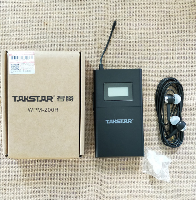 Takstar wpm-200 In-Ear Wireless Monitoring Receiver with Earphone stage monitoring Receiver [Not Include Transmitter] ukingmei uk 2050 wireless in ear monitor system sr 2050 iem personal in ear stage monitoring 2 transmitter 2 receivers