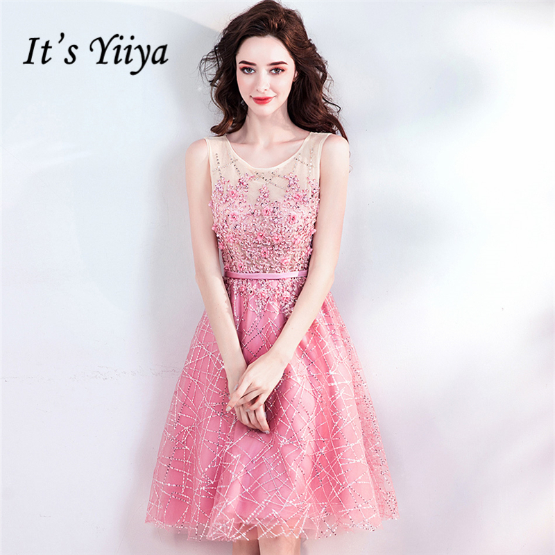 It's YiiYa Pink Cocktail Dresses Bling Beading Embroidery A-line O-neck Sleevless Party Short Dress Zipper Knee-Length LX814