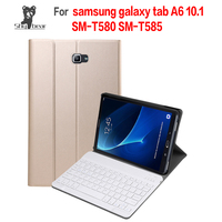 PU Leather Case for 2016 Released Samsung Galaxy Tab A 10.1 T580 T585 Removable Bluetooth Keyboard Cover Case