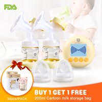 USB Charging Double Pump Breast Electric Extractor Breast Milk Pumps With Massage Mode BPA Free LCD Display Breastfeeding Pump