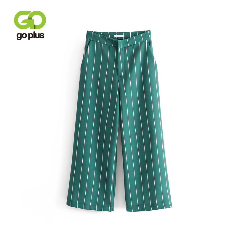 GOPLUS Women Green   Wide     Leg     Pants   Striped Pockets Vintage High Waist   Pants   Chic Female Loose Casual Trousers Pantalones C7827