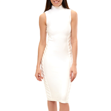 INDRESSME  2017 New White Black Striped Sleeveless Bandage Dress  Women Sheath Knee-Length Party Dresses