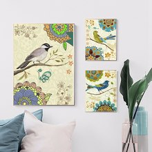 Nordic Poster Wall Art Canvas Prints Bird Flower Artwork Picture Animal Painting for Office Room Decor Flowers Home