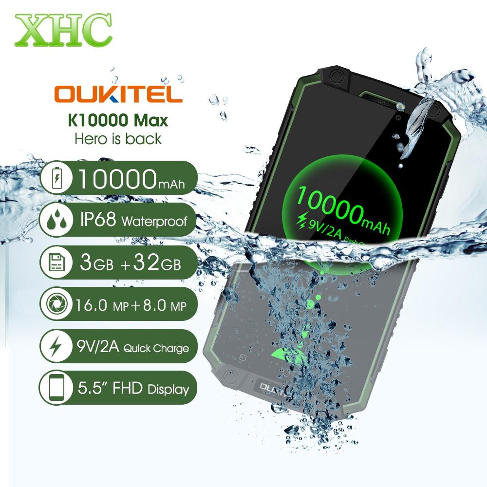 IP68 Oukitel K10000 Max Waterdicht Schokbestendig Smartphone MTK6753 3G + 32G 16MP 10000 mAh Batterij 5.5