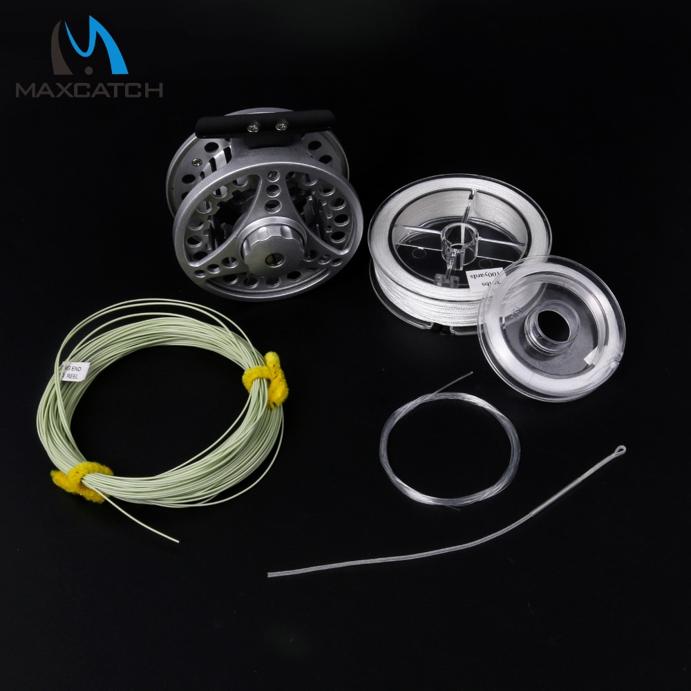 ФОТО Maxcatch Fly Reel & Fly Line Combo 5/6WT Die-casting Fly Fishing Reel Line Backing Loop Leader Tippet Combo