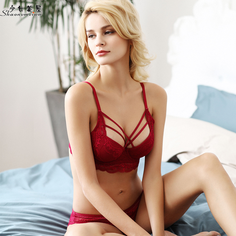 shaonvmeiwu Top thin bottom thick V gather   bra   sexy tie lace underwear   set   small breast   bra   red