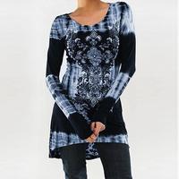 Casual Women T Shirts Autumn Fashion O Neck Long Sleeve Print T Shirts High Waist T
