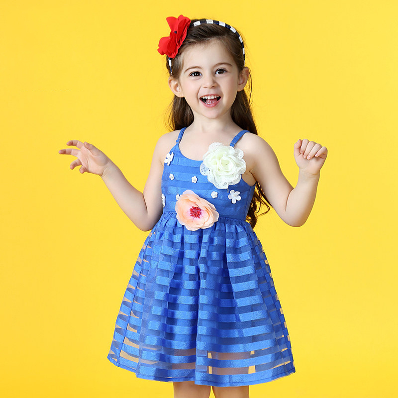 2017 Girls Summer Dress Beach Style Holiday Dress Cute Flower Decoration Royal Blue Flowral Sassy Clothes Age2345678 Years Old dg подушка с принтом summer holiday blue