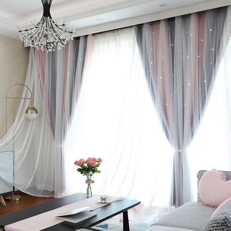 Girl Stars Northern European Curtains Becoming Pink Curtains for Living Room Bedroom Striped Bedroom Curtains Princess Curtains