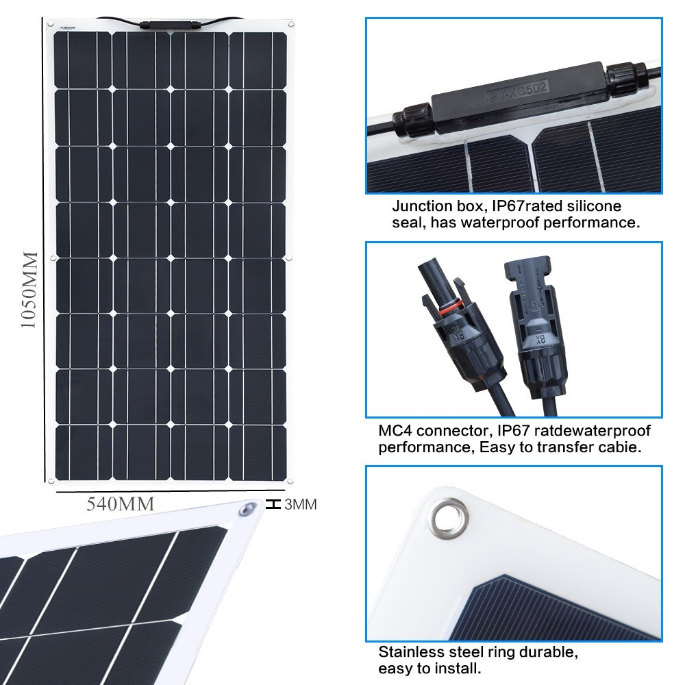 Image 2 - 100W Flexible Solar Panel with 20A Solar Controller Module Cable Car for RV Boat  Home Roof Vans Camping SUV 12V Solar Charger-in Solar Cells from Consumer Electronics