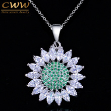 CWWZircons Fashion Brand Ladies CZ Jewelry Marquise Cut Green Cubic Zirconia Stones Daisy Pendants Necklaces For Women CP025