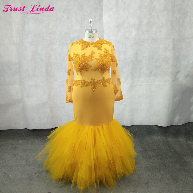 Sexy See Through Yellow Lace Appliques Long Sleeves Mermaid Mother Dresses O Neck Beaded Party Dress Plus Size Prom Gowns 2018