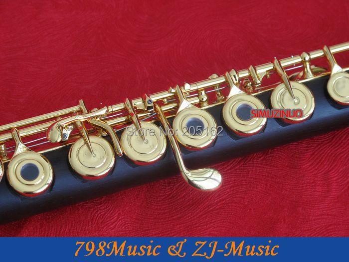 Berlapis emas L Blackwood Grenadilla Afrika Flute-B kaki-Open - Alat-alat musik - Foto 2