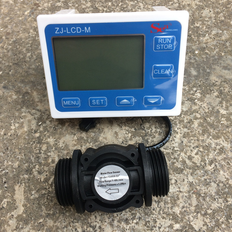 Water Fuel Flow Sensor Meter Counter Indicator Switch Gauge Flowmeter +Digital LCD Display controller Range 0.1-9999L G1 DN25 tuf 2000m tm 1 dn50 700mm flow module for digital ultrasonic flowmeter flow meter sensor indicator counter