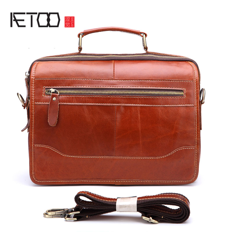 AETOO First layer of leather business handmade oil wax leather shoulder bag Messenger bag casual leather men briefcase aetoo first layer of leather korean version of the tide ladies oil wax leather handbag ladies shoulder messenger bag