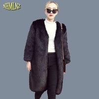 Зимние Для женщин куртка из искусственного лисьего меха средней длины моды Мех животных пальто корейский стиль сплошной цвет с длинным рук...