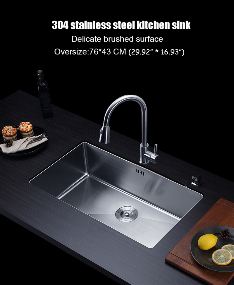 2019 76*43cm 304 Stainless Steel Kitchen Sink Hand Made Single Bowl Water  Tank Large Size Brushed Thick 3mm+1.2mm With Faucet Choose From  Chaowalmai2, ...