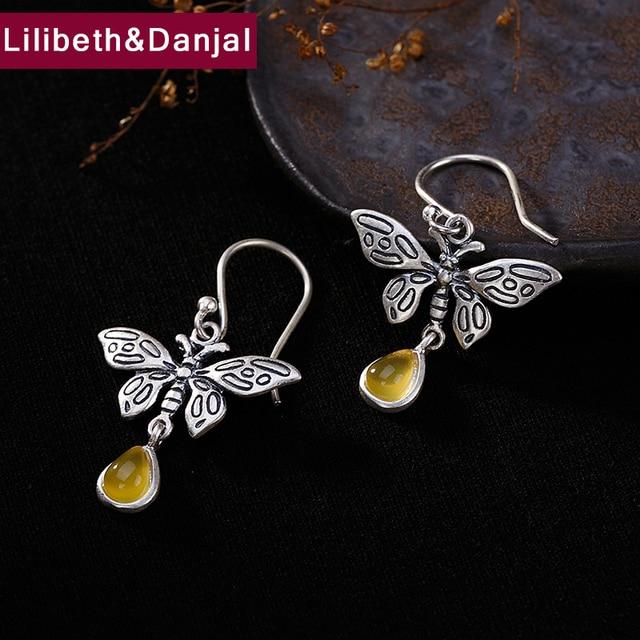 2257be3bc2c Fringe Vintage Drop Earring 100% 925 Sterling Silver Jewelry Women Mosaic  Stone Butterfly Dangle Earring
