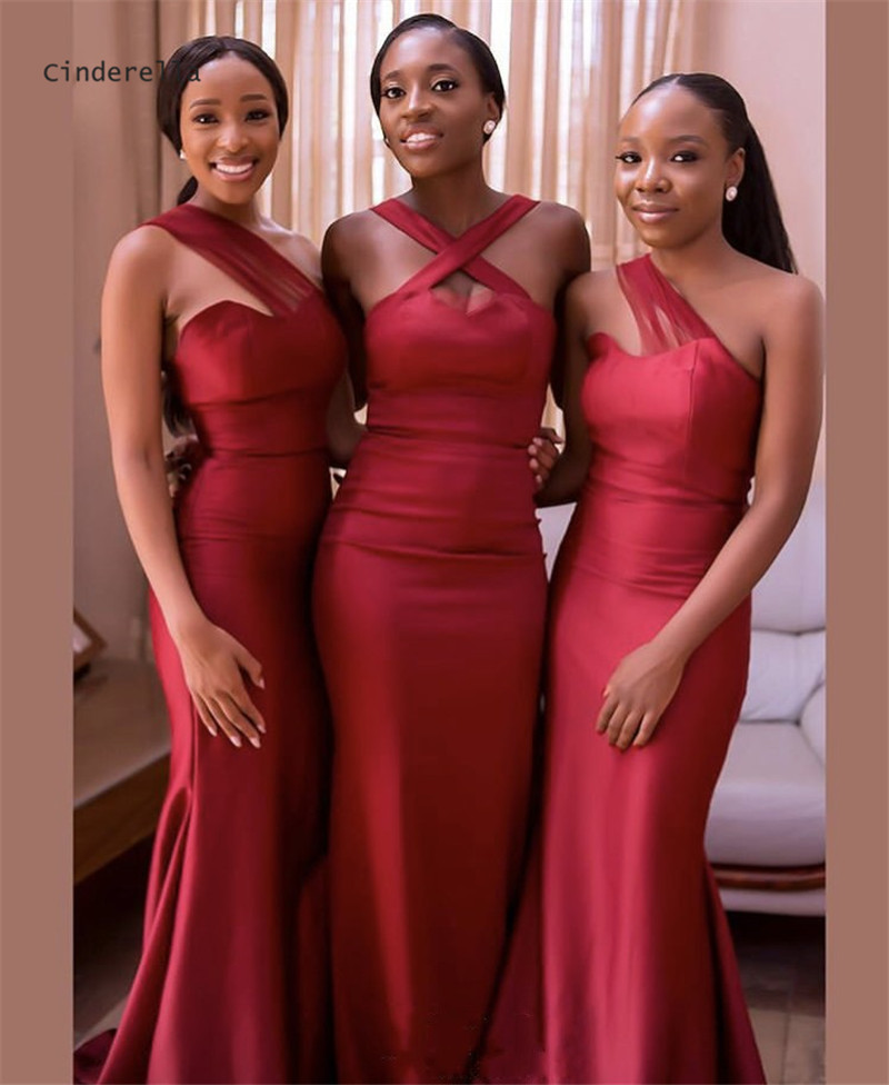 Cinderella Dark Red African Sweetheart Sweep Train Satin Mermaid   Bridesmaid     Dresses   Trumpet Wedding Party   Bridesmaid     Dresses