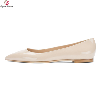 Original Intention New Concise Women Flats Fashion Pointed Toe 4 Seasons Flat Shoes Black Nude Shoes Woman Plus US Size 4-15