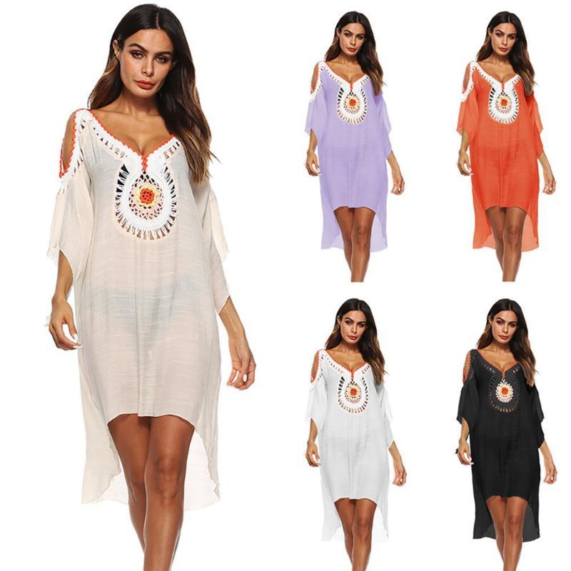 все цены на 2018 Women Crochet Vintage Blouse V-neck Hollow Out Shoulder Shirts Beach Bikini Cover Up Irregular Loose Summer Dress Free Size