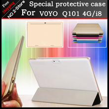 Ultra thin 3 fold Folio PU del soporte del cuero funda para VOYO Q101 4G/i8 tableta de 10.1 pulgadas pc, Multi-color opcional + regalo