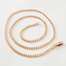3626ae529e34 Nuevo collar 585 Color oro rosa joyería de las mujeres clásico de moda de  cobre largo 2 MM 60 CM Slim Figaro collar para los hom.
